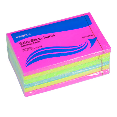 Initiative Extra Sticky Notes Assorted Neon Colours 76x127mm 90 Sheets Per Pad
