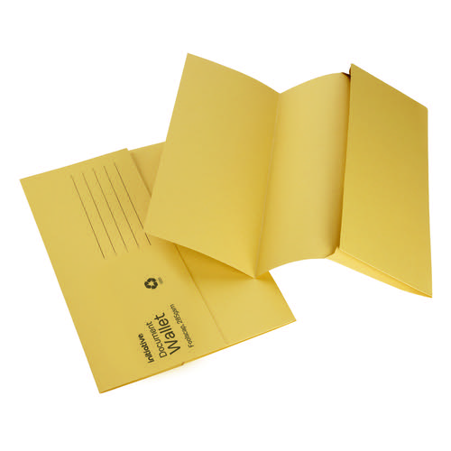 Initiative Document Wallet Foolscap Medium Weight 285gsm Yellow