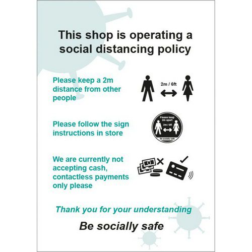 Social Distancing Rigid PVC Sign This Shop Is Operating A Social Distancing Policy D (210mm x 297m
