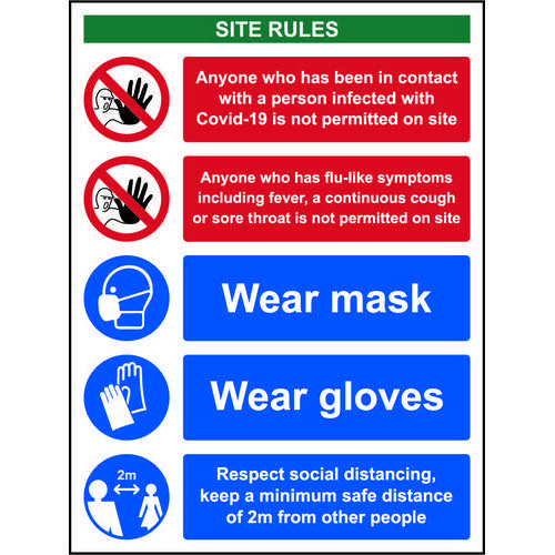 Social Distancing Rigid PVC Sign (300 x 400mm) Covid19 Workplace Safety Notice
