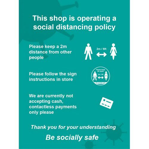 Social Distancing Rigid PVC Sign This Shop Is Operating A Social Distancing Policy A (300mm x 400m