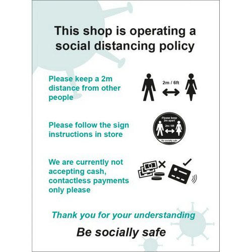 Social Distancing Rigid PVC Sign This Shop Is Operating A Social Distancing Policy B (300mm x 400m