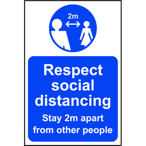 Lightweight and sturdy Correx A-Board (Blue) Respect Social Distancing