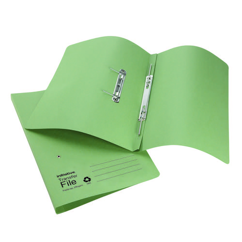 Initiative Transfer Spring File Foolscap 285gsm Green