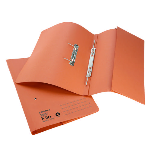 Initiative Transfer Spring File with Pocket Foolscap 285gsm Orange 100% Recycled