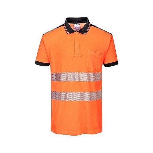 PW3 Hi-Vis Polo Shirt L/S Orange/Black LR