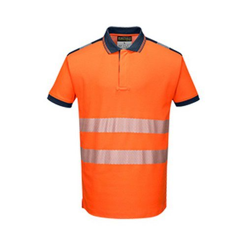 PW3 Hi-Vis Polo Shirt L/S Orange/Navy LR