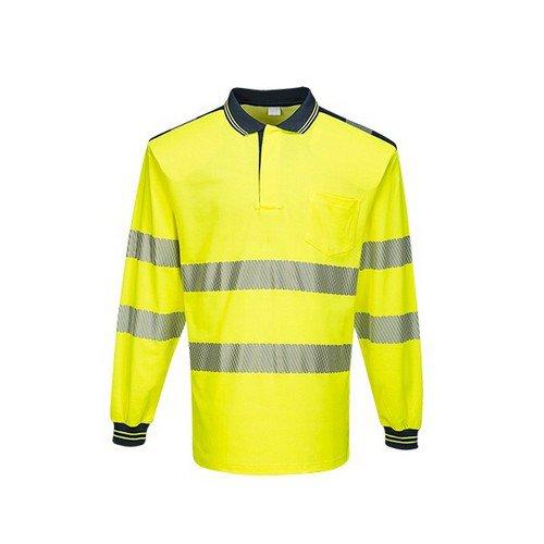 PW3 Hi-Vis Polo Shirt L/S Yellow/Navy LR