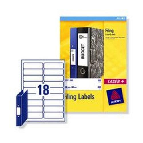 Avery Laser Labels Ring Binder Spine 30x100mm 18 Per Sheet 450 Labels Pack 25