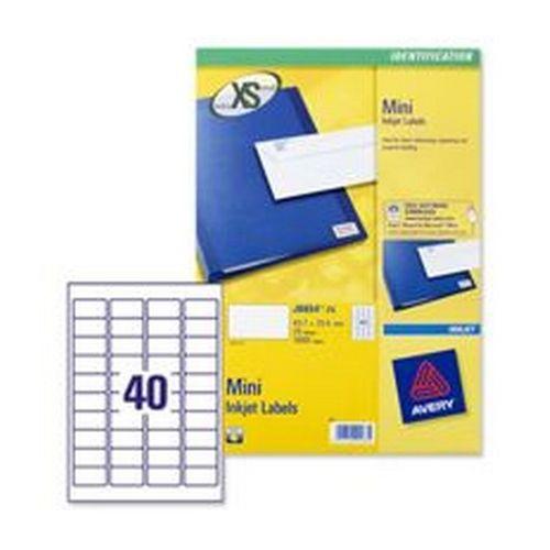 Avery Mini Inkjet Labels 45.7x25.4mm 40 Per Sheet White 1000 Labels Pack 25
