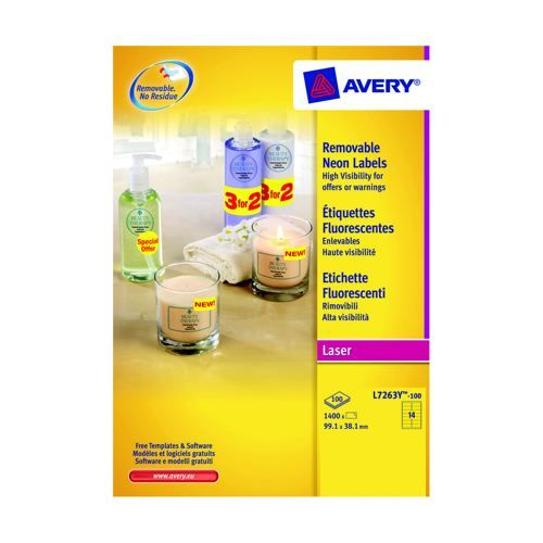 Avery Laser Labels Fluorescent Yellow Pack 25