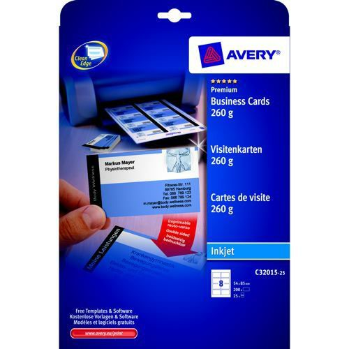 Avery Business Cards Manilla Pack 25