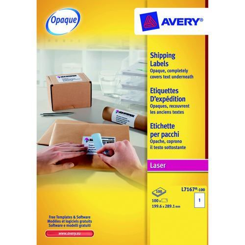 Avery Laser Labels 199.6x289.1mm 1 Per Sheet White 100 Labels FSC