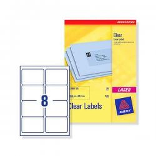 Avery Laser Labels 99.1x67.7mm 8 Per Sheet Clear 200 Labels Pack 25