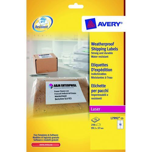 Avery Weatherproof Shipping Labels 99.1 x 57mm 25 Sheets/250 Labels Pack 25
