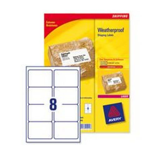 Avery Weatherproof Shipping Labels 99.1 x 57mm 25 Sheets/200 Labels Pack 25