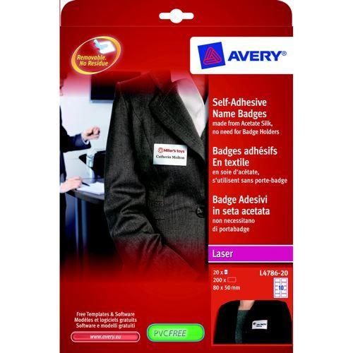 Avery Self-Adhesive Name Badges 10TV White with Blue Border 20 Sheet