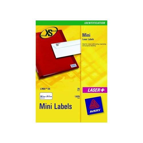 Avery Mini Laser Labels 38.1x21.2mm 65 Per Sheet White 1625 Labels FSC
