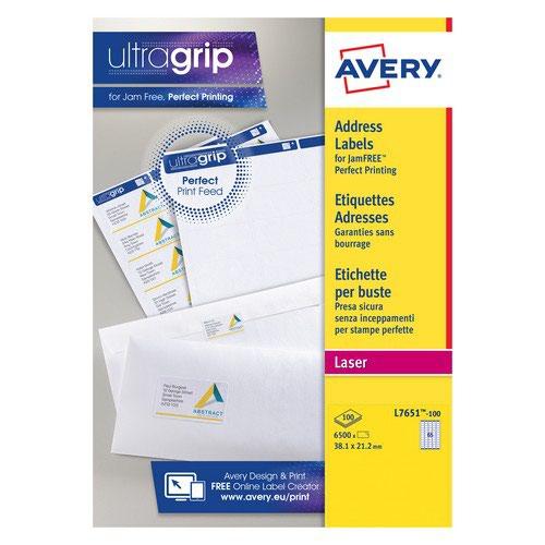 Avery 65tv Laser And Speciality Media Labels Mini Address 38.1x21.2mm White
