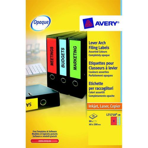 Avery Laser Labels Lever Arch File 60x200mm 4 Per Sheet