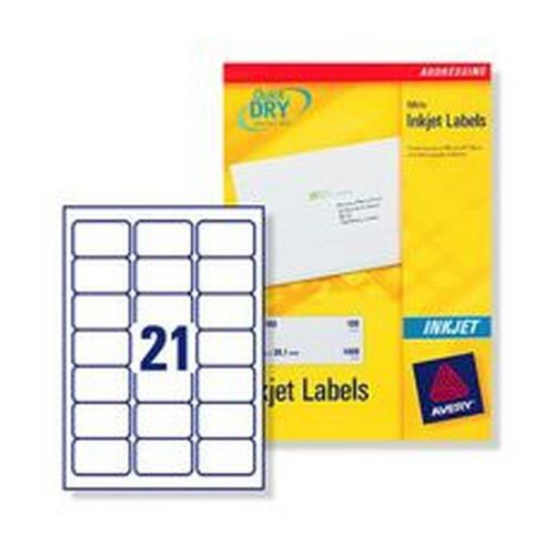 Avery Inkjet Address Labels For 2100 Labels 63.5x38.1mm White 100 Sheets