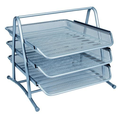 Mesh 3 Tier Letter Tray Silver