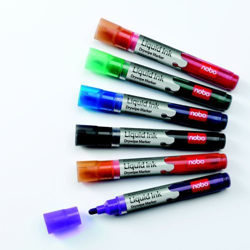 Nobo Assorted Liquid Ink Drywipe Markers (Pack of 6) 1901077