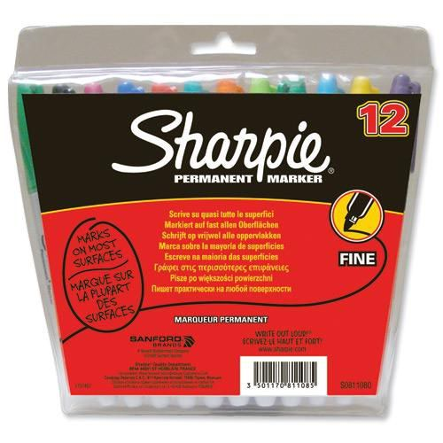 Sharpie Fine Point Permanent Marker Assorted Pack 12
