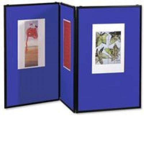Nobo Showboard Desktop Display 5kg 3 Panels Each of W600xH900xD20mm Sides Blue and Grey Ref 1900044