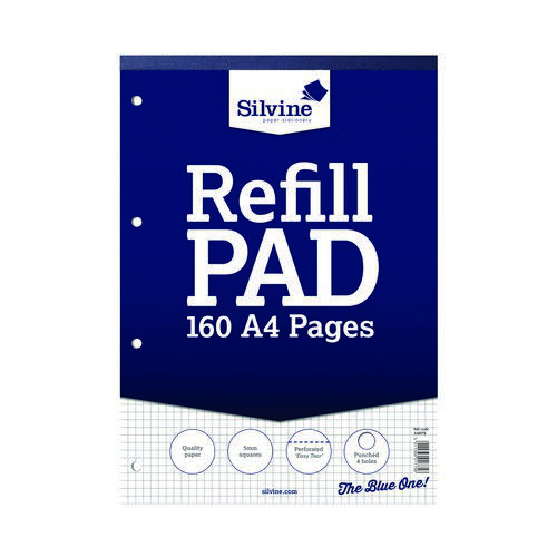 Silvine Refill Pad 5mm Square A4 75gsm 160 Pages