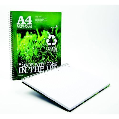 Silvine Premium Recycled Twinwire Notebook A4 Feint PK5