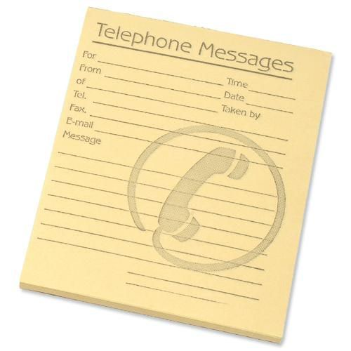 Challenge Yellow Telephone Message Pad 127 x 102mm Pack of 10 100080477