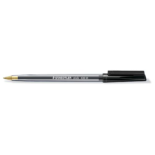 Staedtler Medium Black Stick Ballpoint Pen (Pack of 10) 430-M9
