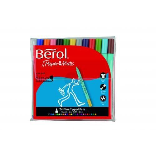 Berol Assorted Water-Based Colourfine Pens Wallet (Pack of 24) S0376530