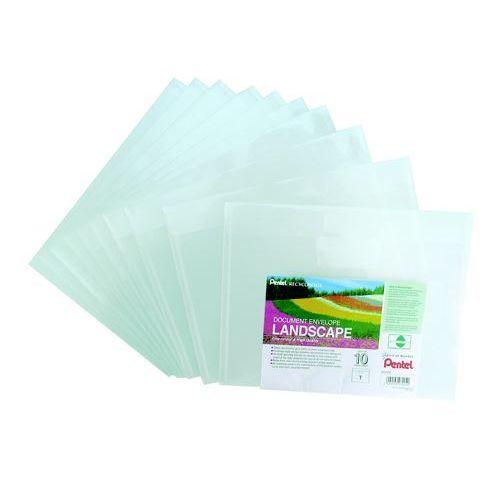 Document Wallets Pentel Recycology Document Envelope Landscape Clear PK10