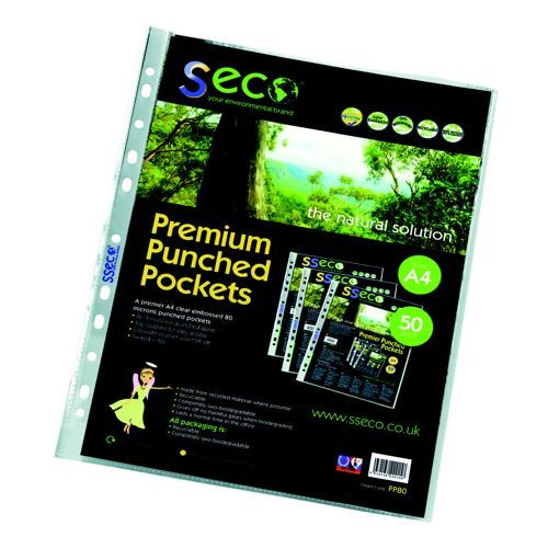 Stewart Superior ECO Biodegradable Punched Pocket A4 Clear Pack 100