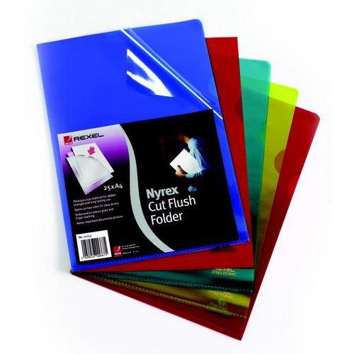 Rexel Nyrex PFC/A4 Cut Flush Open 2 Side Copy Safe Plastic Folders A4 Clear Pack 25
