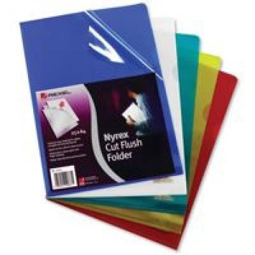 Rexel Nyrex PFC/A4 Cut Flush Open 2 Side Copy Safe Plastic Folders A4 Blue Pack 25