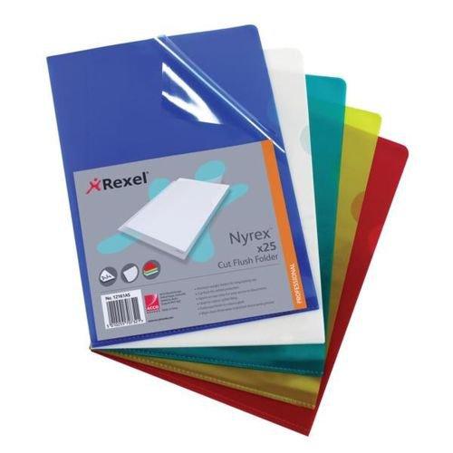 Rexel Nyrex Cut Flush Folder A4 PVC Assorted Pack 25