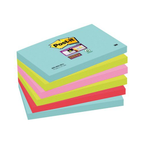 Post-it Super Sticky Notes Miami 76x127mm Pack 6