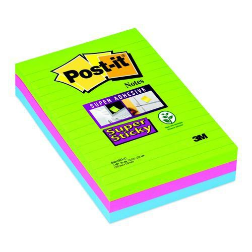 Post-It Notes 6x4 Super Sticky Ruled Ultra Assorted Pack 3