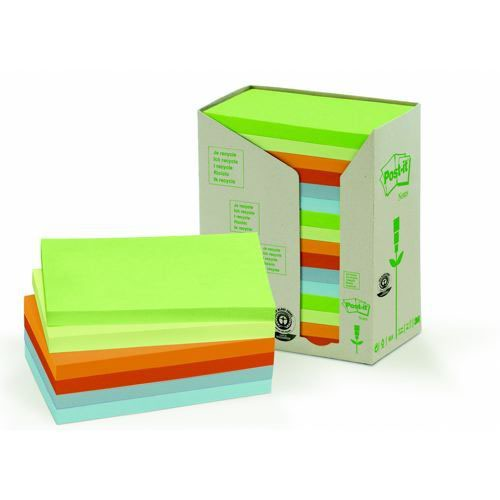 3M Post-It Note Recycled 5x5 Colour Pack 16