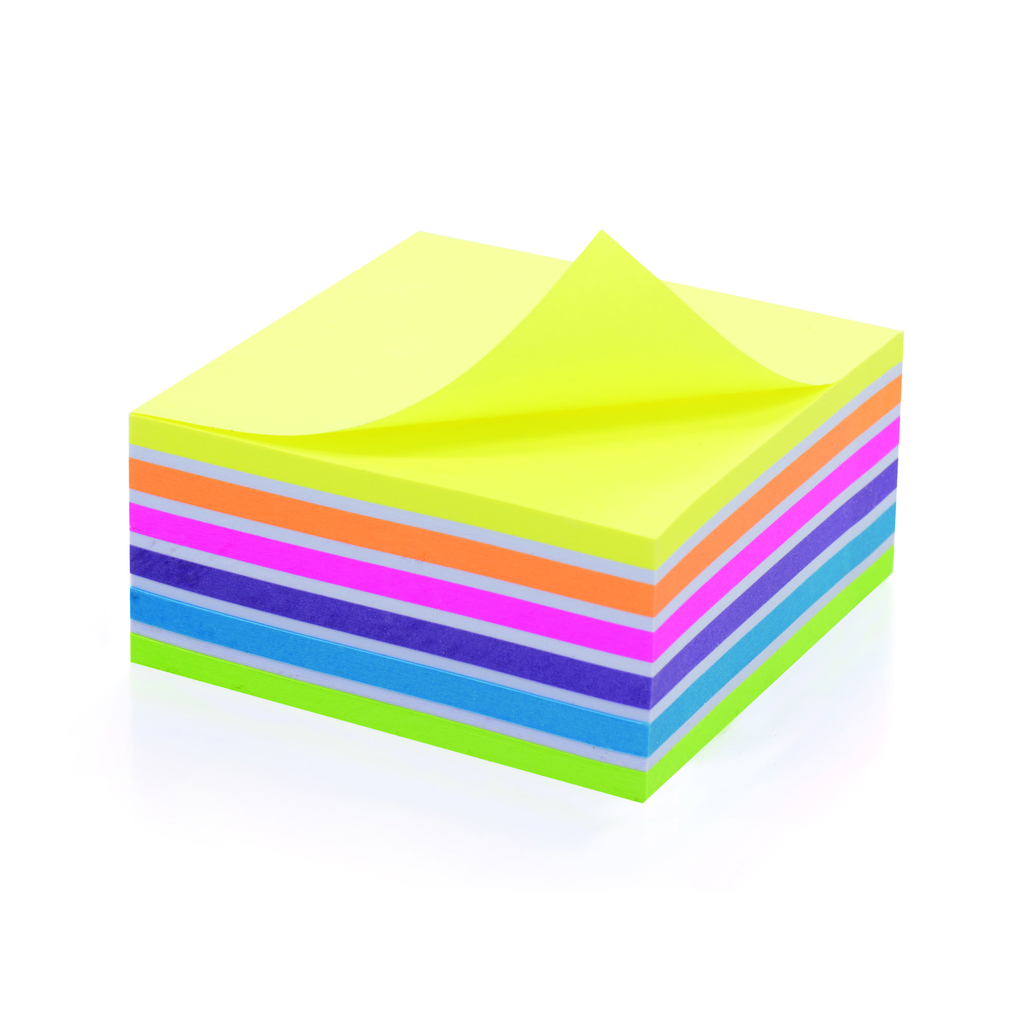 Initiative Sticky Notes Neon Cube 400 Sheets Assorted Colours 76x76mm