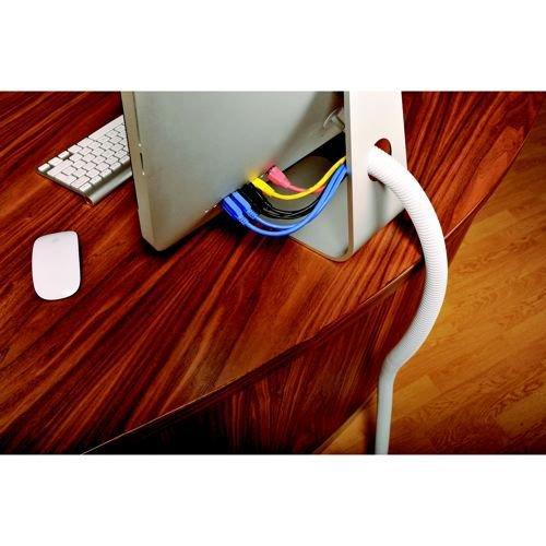 D-Line Cable Tidy Split Flexible Tube 1.1m length 32mm dia White ctt1.1w