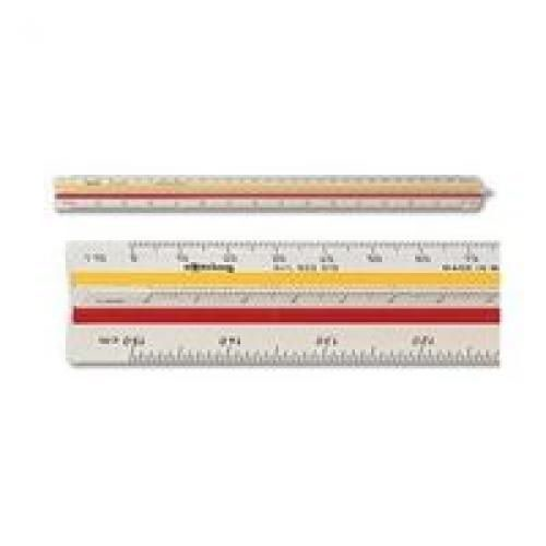 Rotring Ruler Triangular Reduction Scale 4 Architect 1-10 to 1-500 2 Coloured Flutings