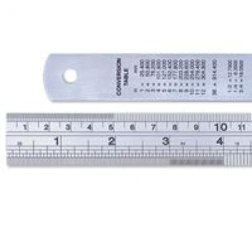 Linex Ruler Stainless Steel Imperial And Metric With Conversion Table 600mm