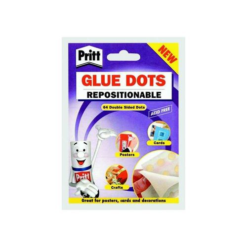 Pritt Glue Dots Acid-Free on Backing Paper Repositionable 64 per Wallet