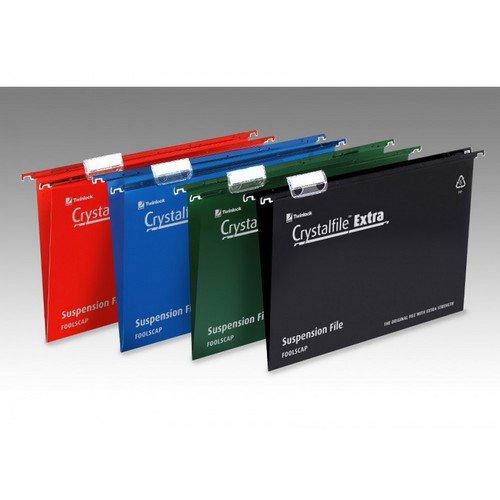 Crystalfile Extra Polypropylene Suspension File Foolscap Green Box 25