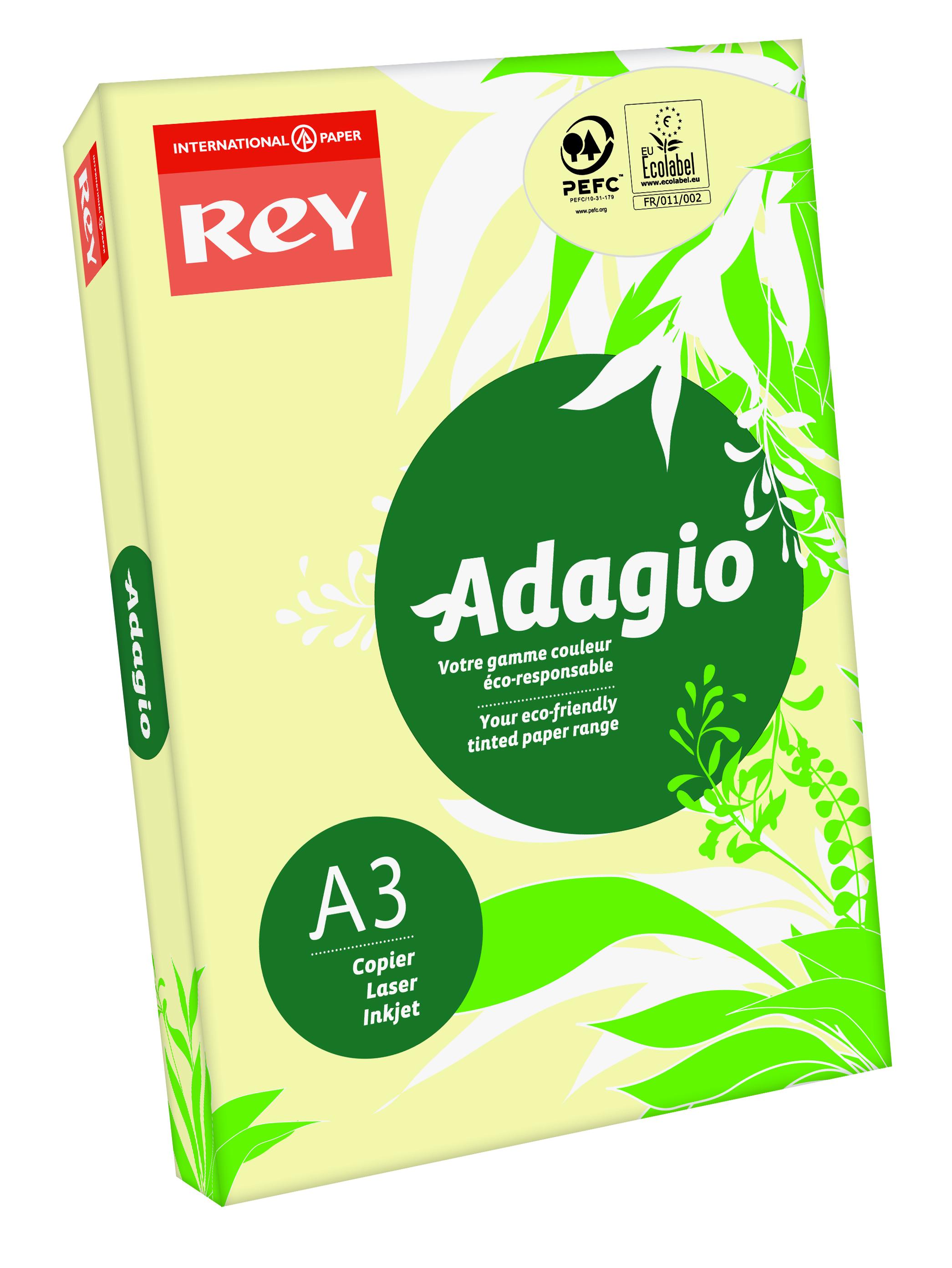 A3 Rey Adagio Paper A3 80gsm Canary (Ream 500)