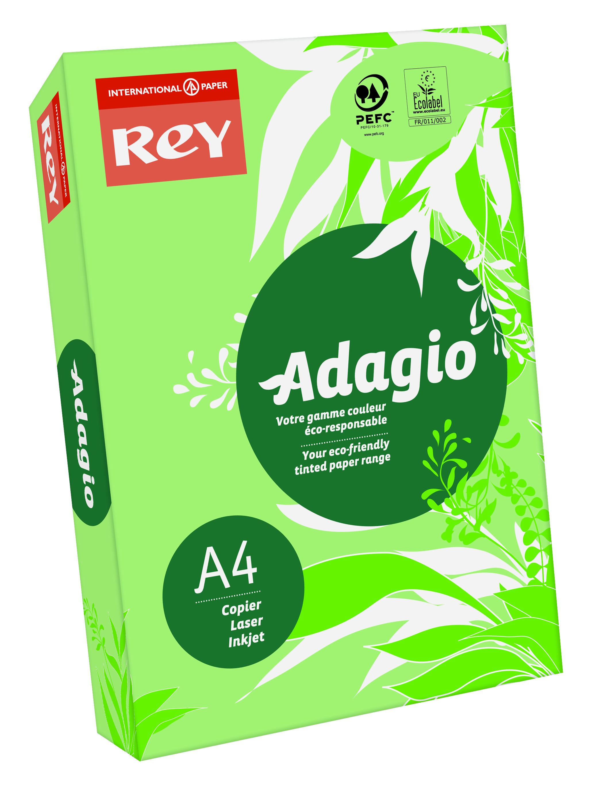 Rey Adagio Paper A4 80gsm Leaf Green (Ream 500)